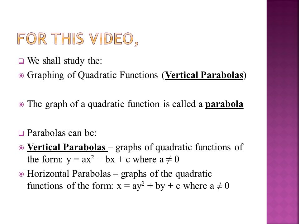  We shall study the:  Graphing of Quadratic Functions (Vertical Parabolas)  The graph of a quadratic function is called a parabola  Parabolas can be:  Vertical Parabolas – graphs of quadratic functions of the form: y = ax 2 + bx + c where a ≠ 0  Horizontal Parabolas – graphs of the quadratic functions of the form: x = ay 2 + by + c where a ≠ 0