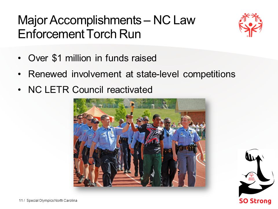 Major Accomplishments – NC Law Enforcement Torch Run Over $1 million in funds raised Renewed involvement at state-level competitions NC LETR Council reactivated 11 / Special Olympics North Carolina