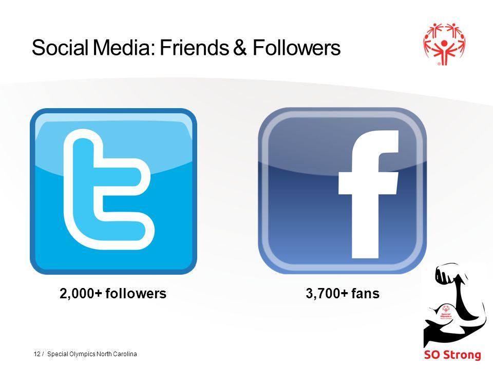 Social Media: Friends & Followers 12 / Special Olympics North Carolina 2,000+ followers3,700+ fans