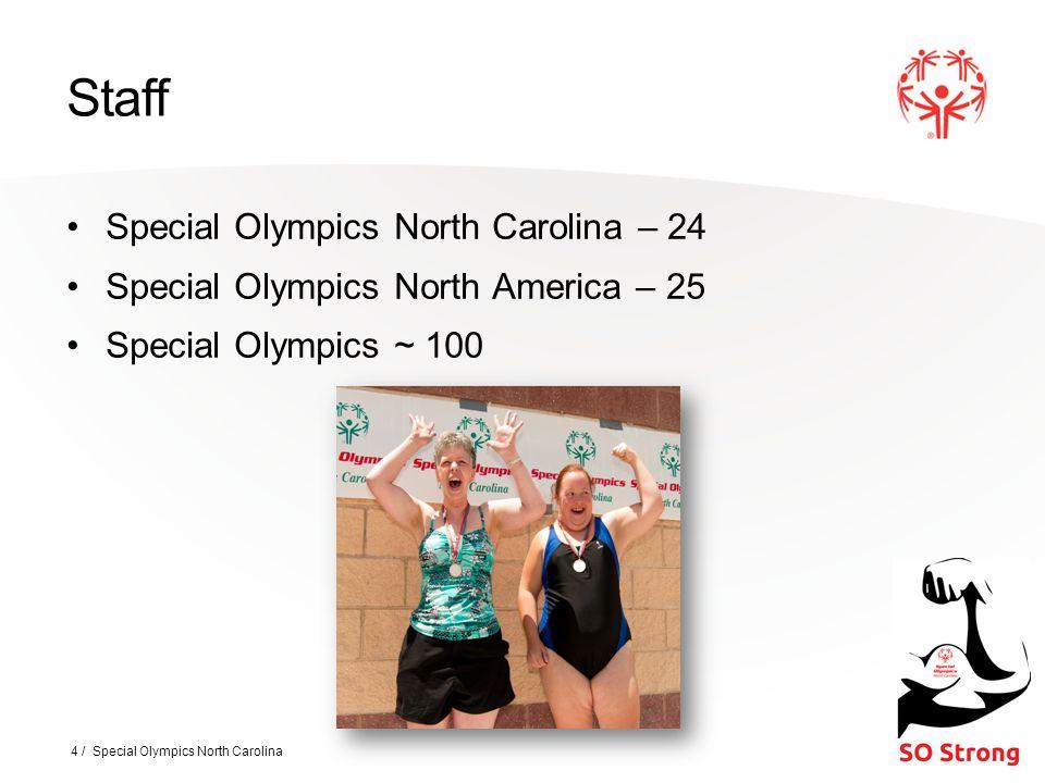 Staff Special Olympics North Carolina – 24 Special Olympics North America – 25 Special Olympics ~ 100 4 / Special Olympics North Carolina