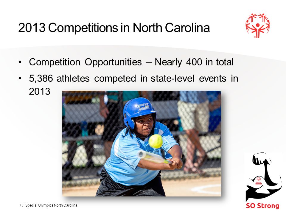 2013 Competitions in North Carolina Competition Opportunities – Nearly 400 in total 5,386 athletes competed in state-level events in 2013 7 / Special Olympics North Carolina