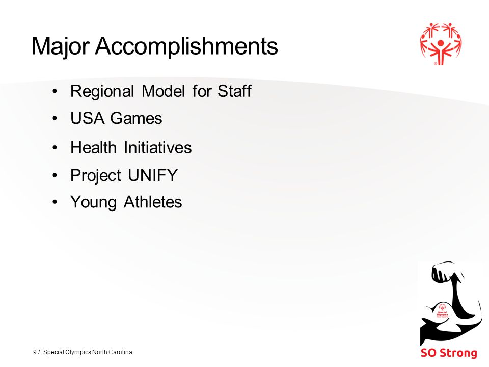 Major Accomplishments Regional Model for Staff 9 / Special Olympics North Carolina Young Athletes USA Games Health Initiatives Project UNIFY