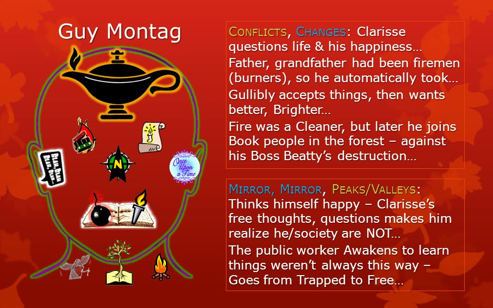 Guy Montag C ONFLICTS, C HANGES : Clarisse questions life & his happiness… Father, grandfather had been firemen (burners), so he automatically took… G