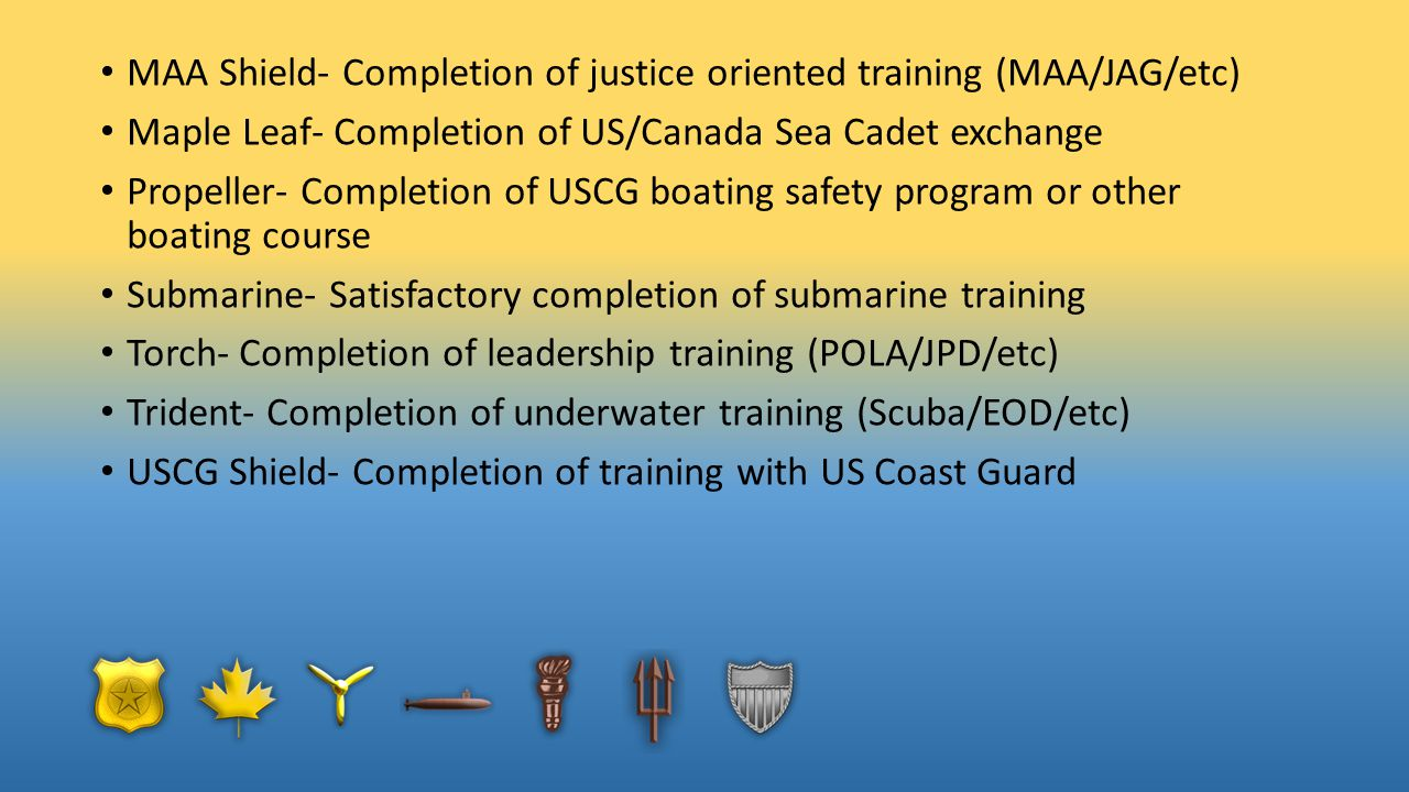 MAA Shield- Completion of justice oriented training (MAA/JAG/etc) Maple Leaf- Completion of US/Canada Sea Cadet exchange Propeller- Completion of USCG