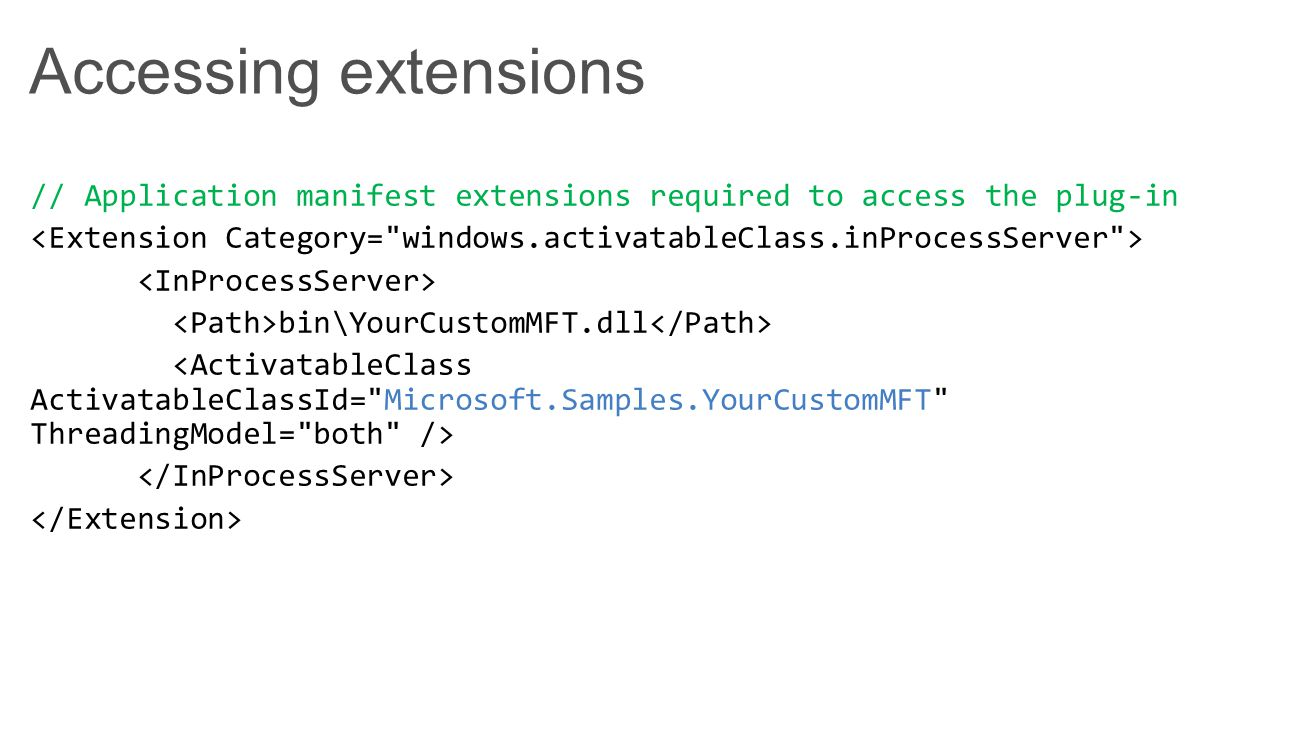 Accessing extensions