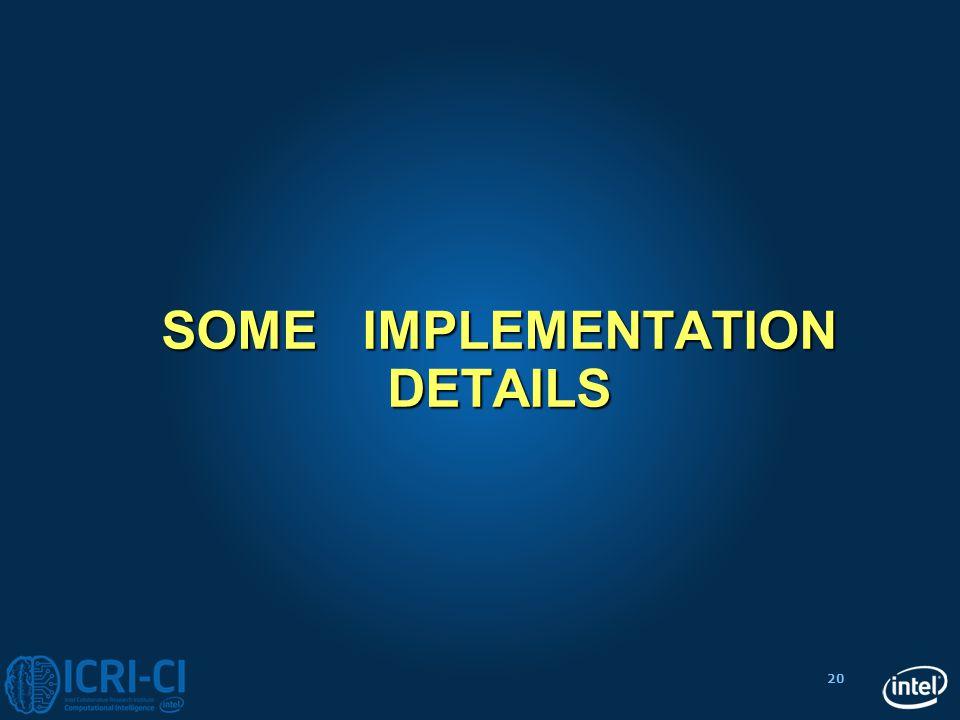20 SOME IMPLEMENTATION DETAILS