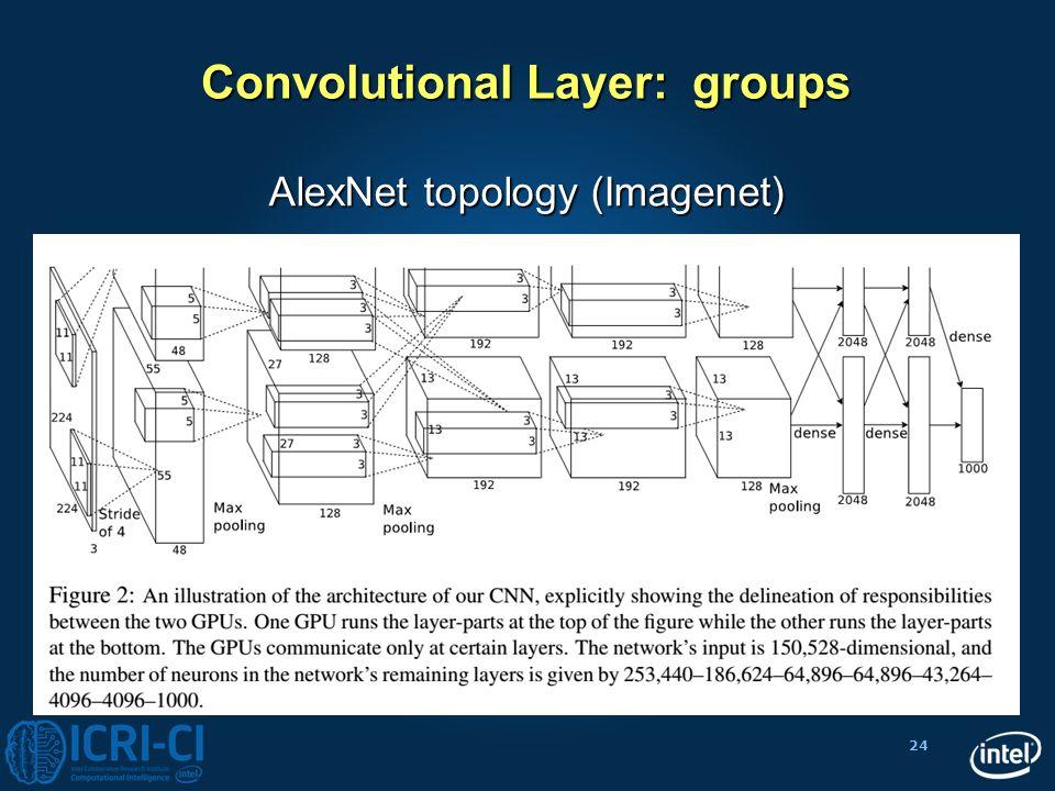 24 Convolutional Layer: groups AlexNet topology (Imagenet)