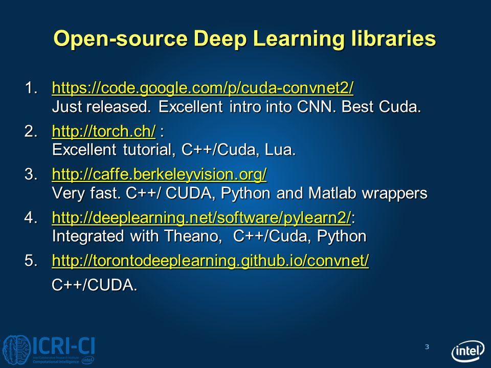 3 Open-source Deep Learning libraries 1.https://code.google.com/p/cuda-convnet2/ Just released. Excellent intro into CNN. Best Cuda. https://code.goog