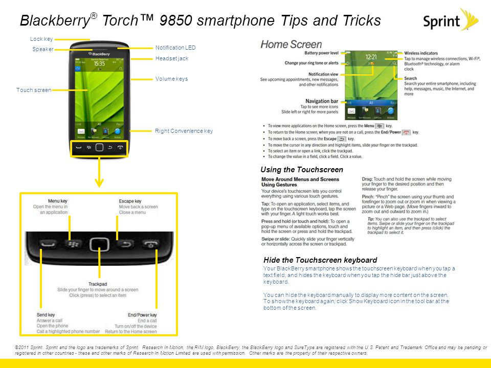 Blackberry ® Torch ™ 9850 smartphone Tips and Tricks ©2011 Sprint. Sprint and the logo are trademarks of Sprint. Research In Motion, the RIM logo, Bla