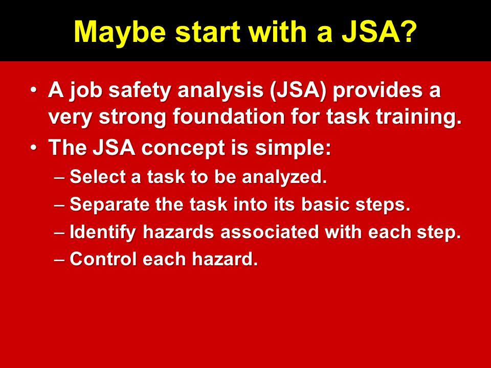 Maybe start with a JSA.