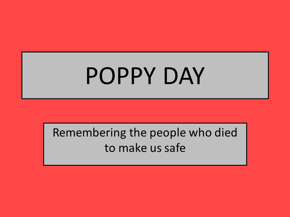 POPPY DAY Remembering the people who died to make us safe