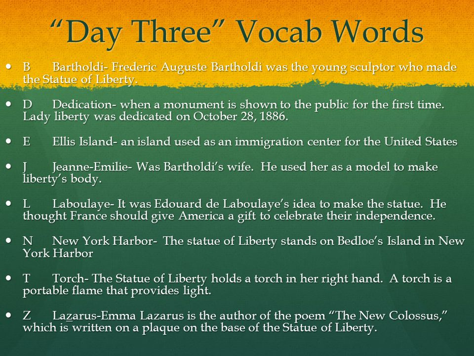 Day Four Homework Words WWeary- immigrants who were worn out and tired after their trip were called weary.
