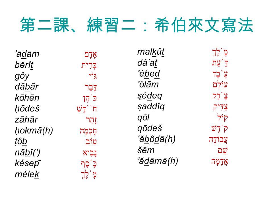 第二課、練習二:希伯來文寫法 אָדָם בְּרִית גּוֹי דָּבָר כֹּהֶן חֹ ֫ דֶשׁ זָהָר חָכְמָה טוֹב נָבִיא כֶּ ֫ סֶף מֶ ֫ לֶךְ דַּ ֫ עַת עֶ ֫ בֶד עוֹלָם צֶ ֫ דֶק צַדִּיק קוֹל קֹדֶשׁ עֲבוֹדָה שֵׁם אֲדָמָה 'ādām bĕrît gôy dābār kōhēn hōdeš zāhār hokmā(h) tôb nābî(') késep ̄ mélek malkût dá'at 'ébed 'ôlām sédeq saddîq qôl qōdeš 'ăbôdā(h) šēm 'ădāmā(h)