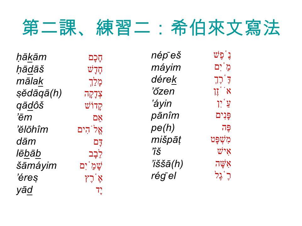 第二課、練習二:希伯來文寫法 חָכָם חָדָשׁ מָלַךְ צְדָקָה קָדוֹשׁ אֵם אֱלֹהִים דָּם לֵבָב שָׁמַ ֫ יִם אֶ ֫ רֶץ יָד נֶ ֫ פֶשׁ מַ ֫ יִם דֶּ ֫ רֶךְ אֹ ֫ זֶן עַ ֫ יִן פָּנִים פֶּה מִשְׁפָּט אִישׁ אִשָּׁה רֶ ֫ גֶל hākām hādāš mālak sĕdāqā(h) qādôš 'ēm 'ĕlōhîm dām lēbāb šāmáyim 'éres yād nép ̄ eš máyim dérek 'ōzen 'áyin pānîm pe(h) mišpāt 'îš 'iššā(h) rég ̄ el
