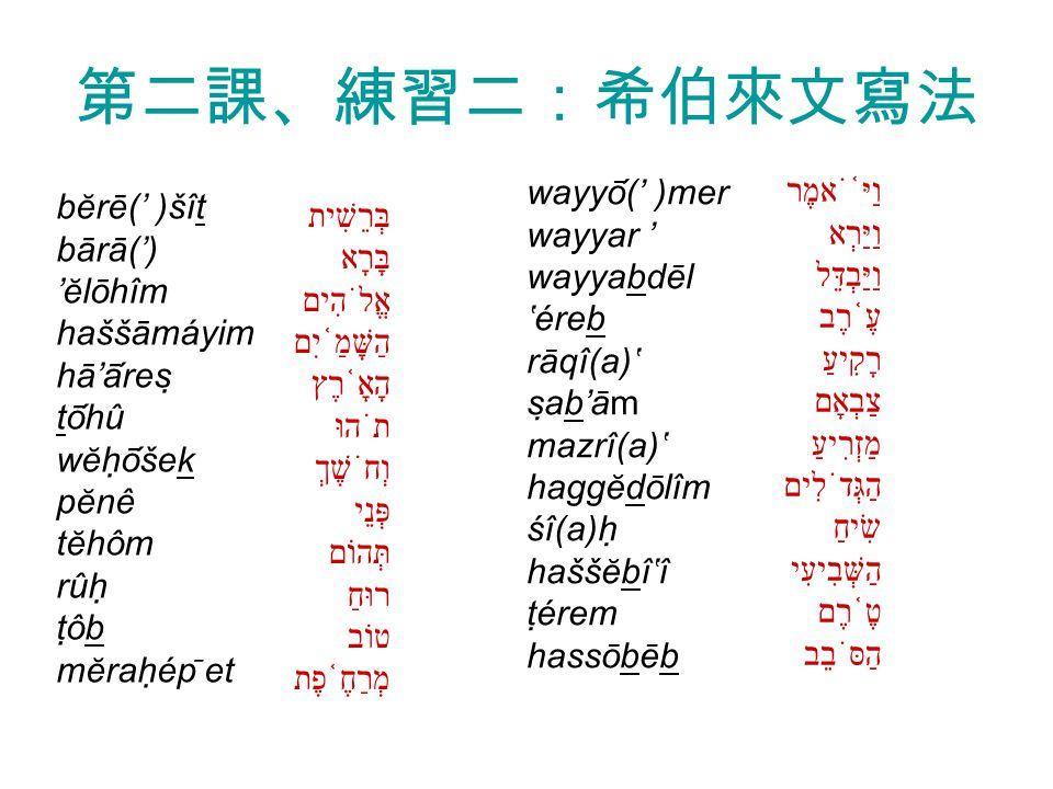 第二課、練習二:希伯來文寫法 בְּרֵשִׁית בָּרָא אֱלֹהִים הַשָּׁמַ ֫ יִם הָאָ ֫ רֶץ תֹהוּ וְחֹשֶׁךְ פְּנֵי תְּהוֹם רוּחַ טוֹב מְרַחֶ ֫ פֶת וַיּ ֫ ֹאמֶר וַיַּרְא וַיַּבְדֵּל עֶ ֫ רֶב רָקִיעַ צַבְאָם מַזְרִיעַ הַגְּדֹלִים שִׂיחַ הַשְּׁבִיעִי טֶ ֫ רֶם הַסֹּבֵב bĕrē(' )šît bārā(') 'ĕlōhîm haššāmáyim hā'āres tōhû wĕhōšek pĕnê tĕhôm rûh tôb mĕrahép ̄ et wayyō(' )mer wayyar ' wayyabdēl 'éreb rāqî(a)' sab'ām mazrî(a)' haggĕdōlîm śî(a)h haššĕbî'î térem hassōbēb