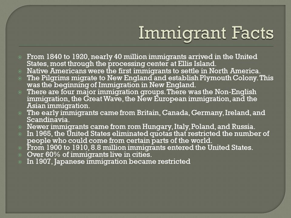  From 1840 to 1920, nearly 40 million immigrants arrived in the United States, most through the processing center at Ellis Island.  Native Americans