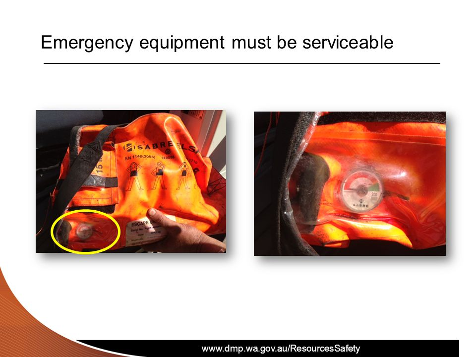 Emergency equipment must be serviceable