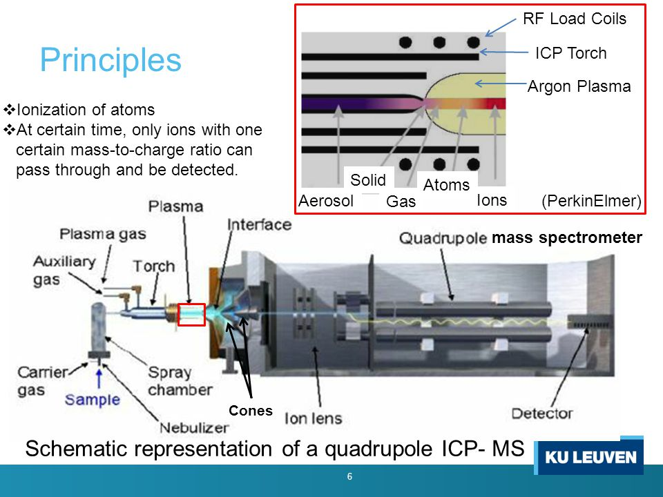 Principles 6 Argon Plasma Aerosol Solid Gas Atoms Ions RF Load Coils ICP Torch Schematic representation of a quadrupole ICP- MS (PerkinElmer)  Ionization of atoms  At certain time, only ions with one certain mass-to-charge ratio can pass through and be detected.