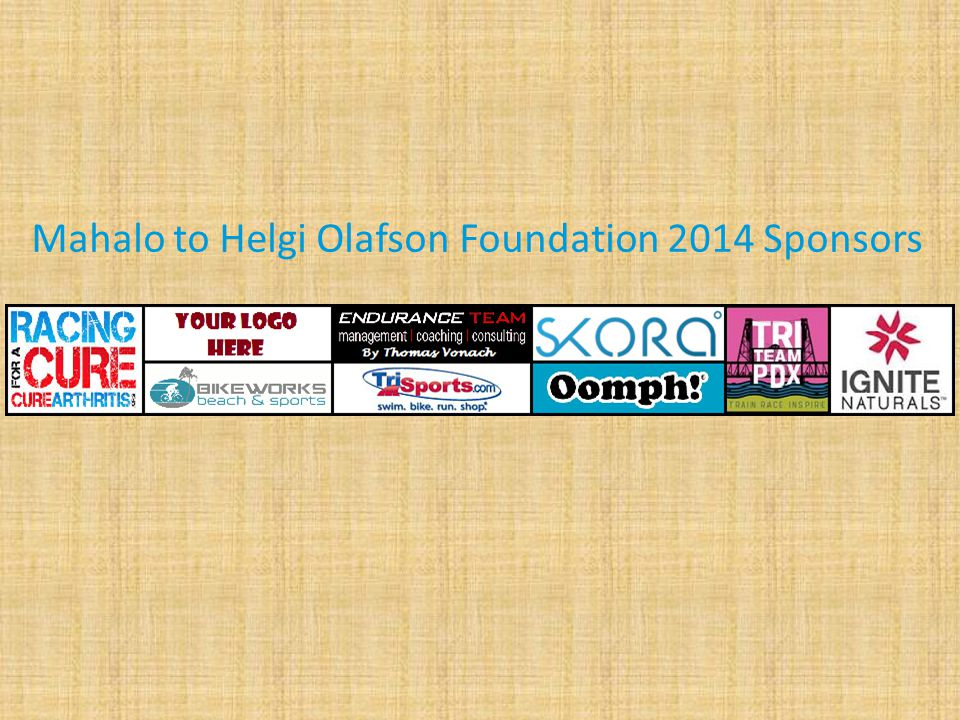Mahalo to Helgi Olafson Foundation 2014 Sponsors