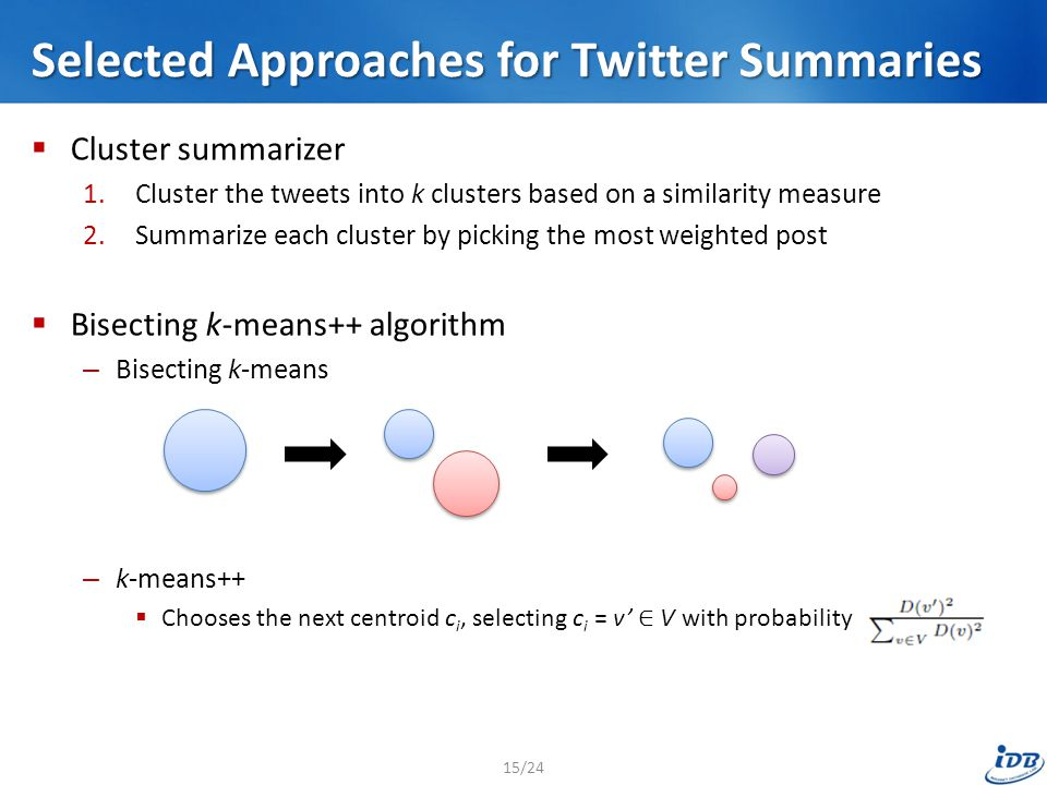 Selected Approaches for Twitter Summaries  Cluster summarizer 1.Cluster the tweets into k clusters based on a similarity measure 2.Summarize each cluster by picking the most weighted post  Bisecting k-means++ algorithm – Bisecting k-means – k-means++  Chooses the next centroid c i, selecting c i = v' ∈ V with probability 15/24