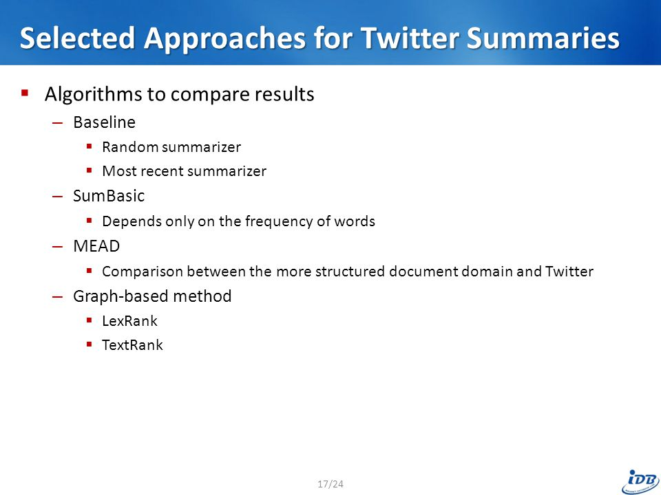 Selected Approaches for Twitter Summaries  Algorithms to compare results – Baseline  Random summarizer  Most recent summarizer – SumBasic  Depends