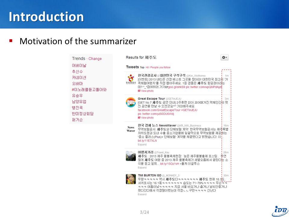 Introduction  Motivation of the summarizer 3/24