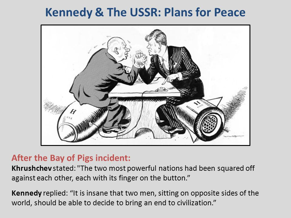 Kennedy & The USSR: Plans for Peace After the Bay of Pigs incident: Khrushchev stated: The two most powerful nations had been squared off against each other, each with its finger on the button. Kennedy replied: It is insane that two men, sitting on opposite sides of the world, should be able to decide to bring an end to civilization.