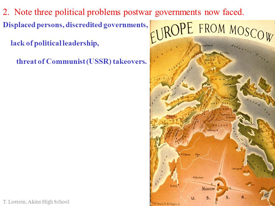 2. Note three political problems postwar governments now faced.
