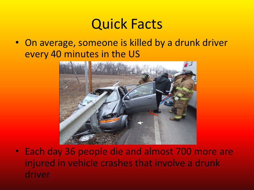 Quick Facts On average, someone is killed by a drunk driver every 40 minutes in the US Each day 36 people die and almost 700 more are injured in vehicle crashes that involve a drunk driver