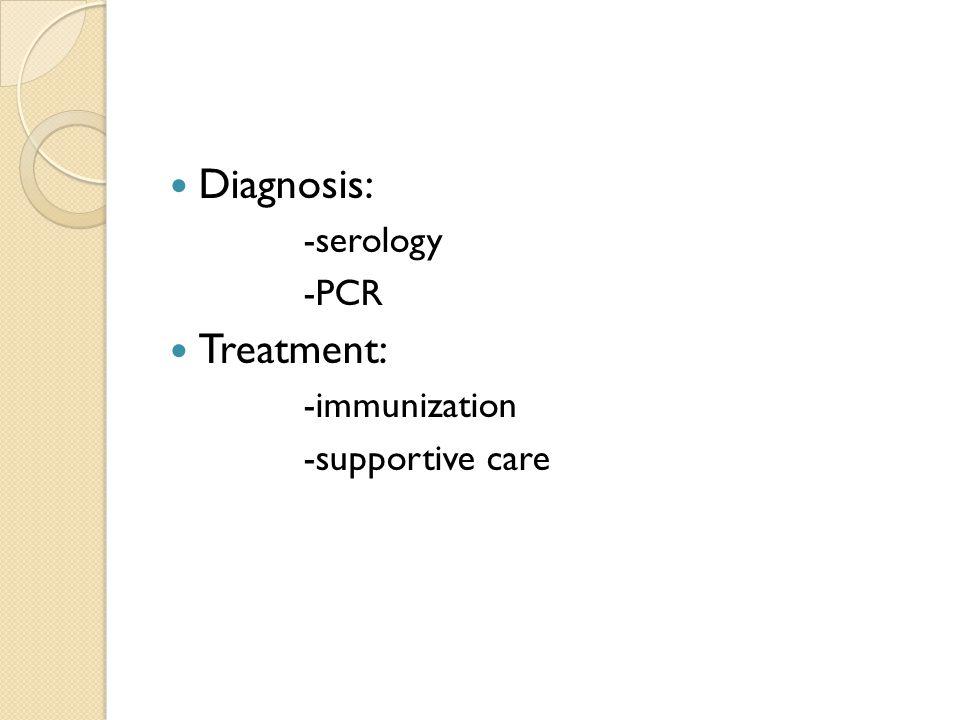 Diagnosis: -serology -PCR Treatment: -immunization -supportive care