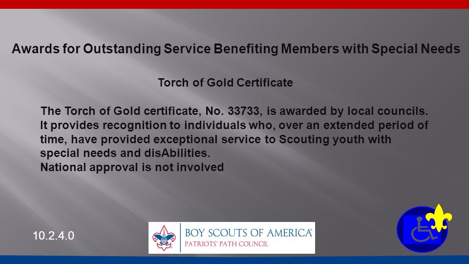 Torch of Gold Certificate The Torch of Gold certificate, No. 33733, is awarded by local councils. It provides recognition to individuals who, over an