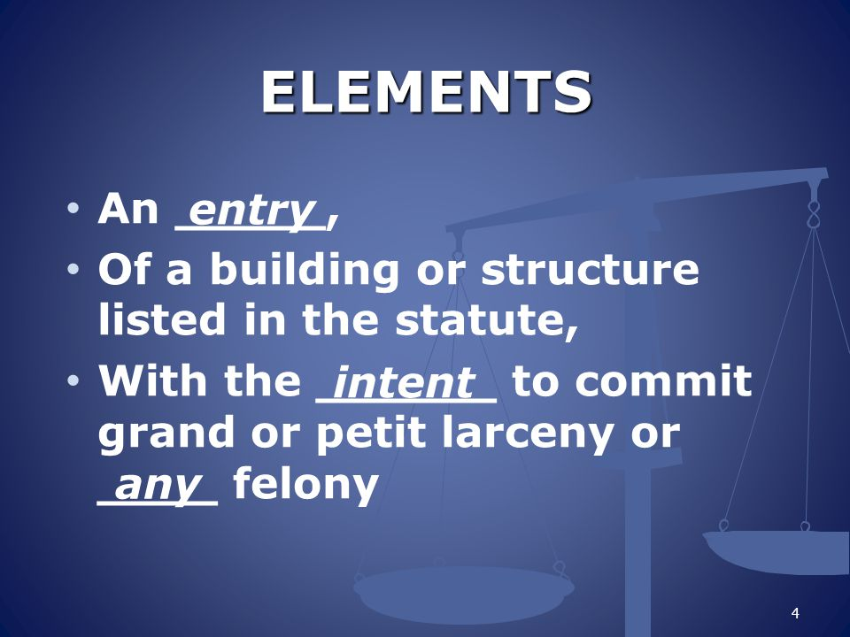 ELEMENTS An _____, Of a building or structure listed in the statute, With the ______ to commit grand or petit larceny or ____ felony 4 entry intent any