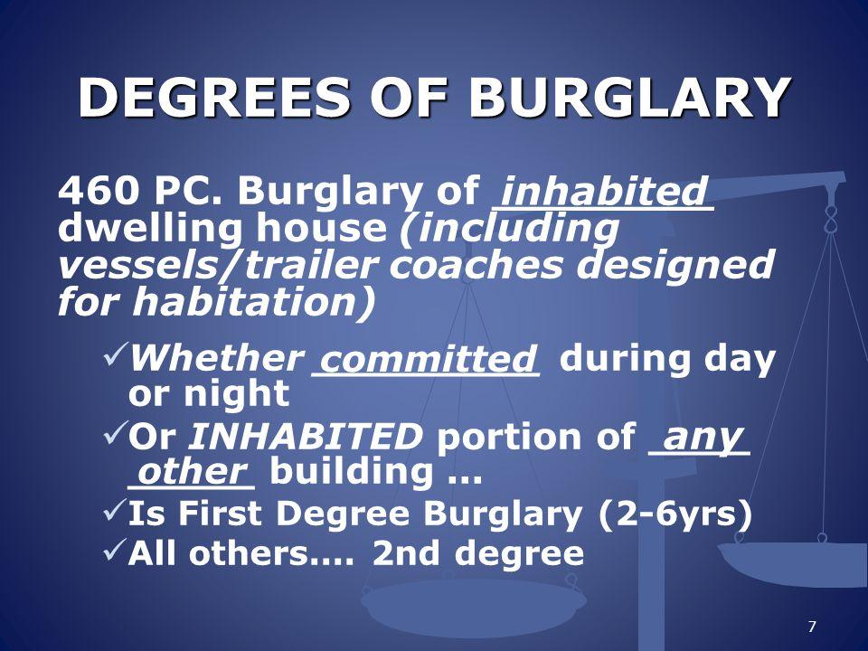 BURGLARY – PUNISHMENT First degree; ______ Second degree; _______ Could be a misdemeanor burglary (PC 461) 8 Felony Wobbler