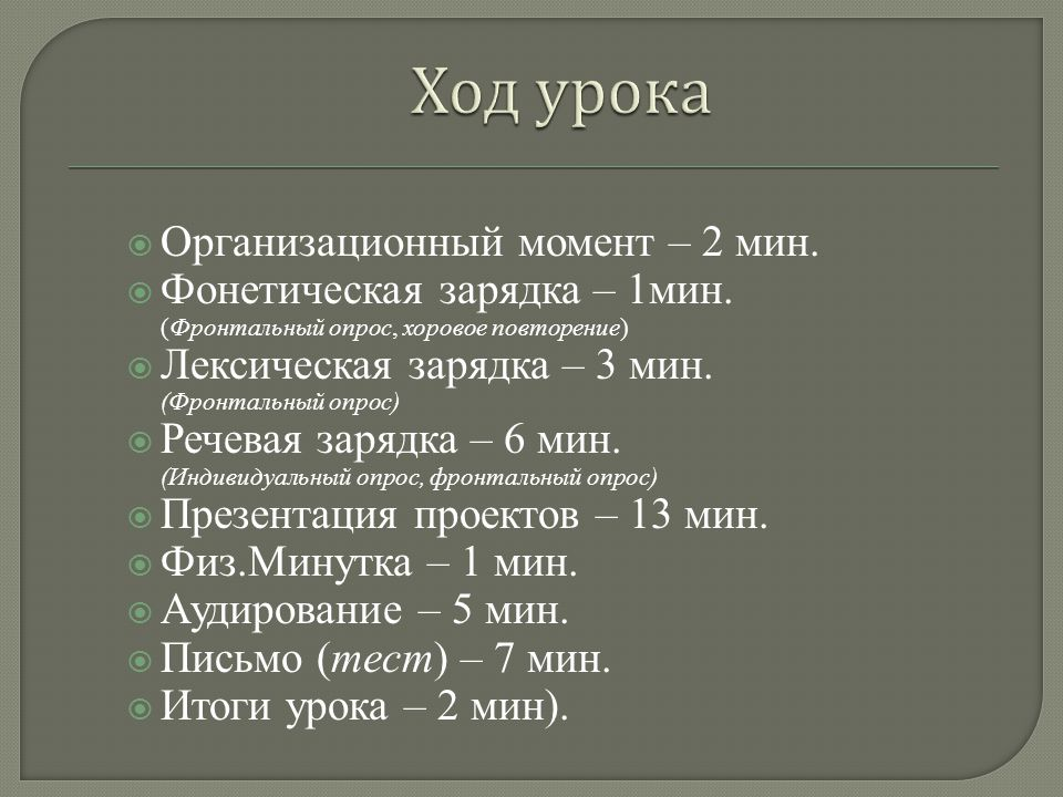  Организационный момент – 2 мин.  Фонетическая зарядка – 1мин.