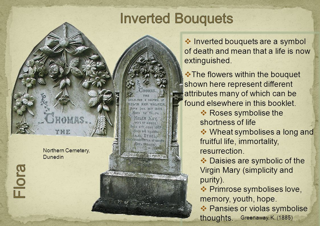  Inverted bouquets are a symbol of death and mean that a life is now extinguished.