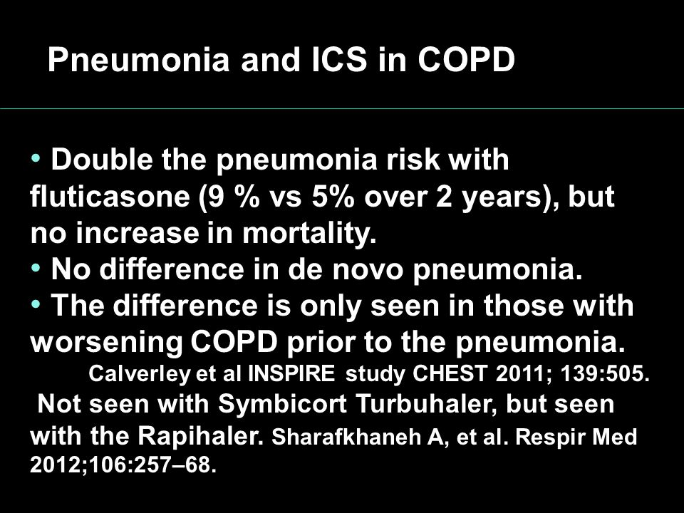 Pneumonia and ICS in COPD Double the pneumonia risk with fluticasone (9 % vs 5% over 2 years), but no increase in mortality. No difference in de novo