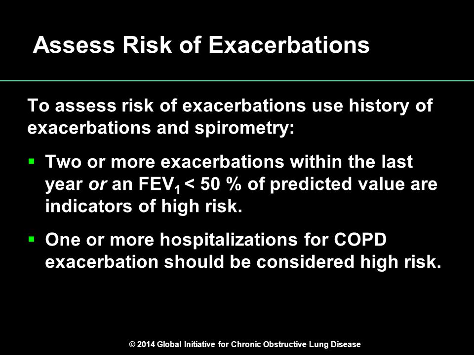 Global Strategy for Diagnosis, Management and Prevention of COPD Assess Risk of Exacerbations To assess risk of exacerbations use history of exacerbat