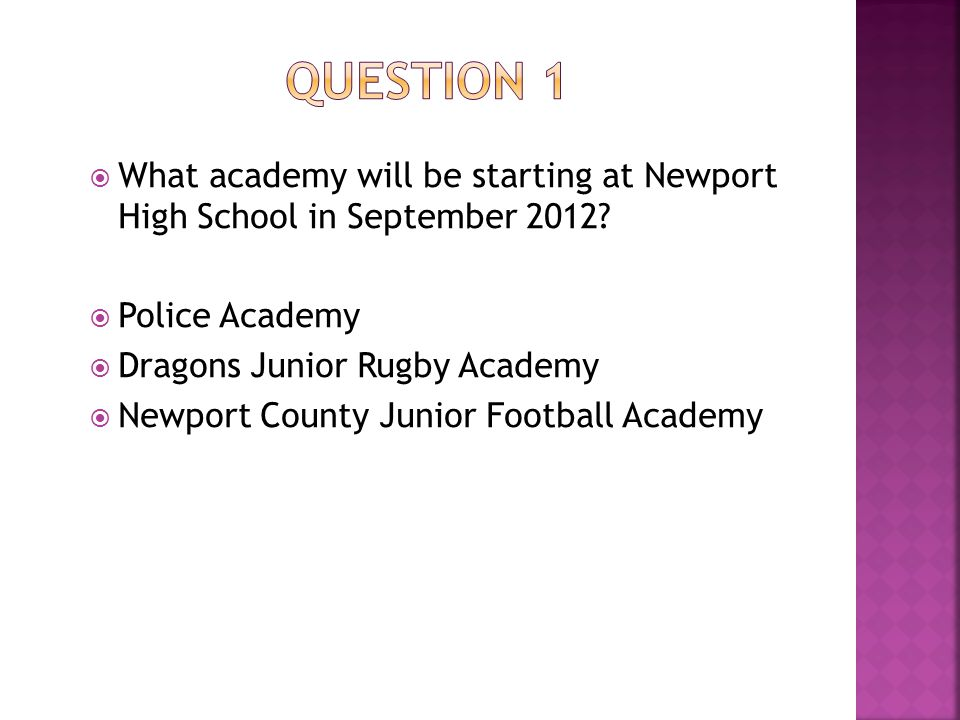 WWhat academy will be starting at Newport High School in September 2012.