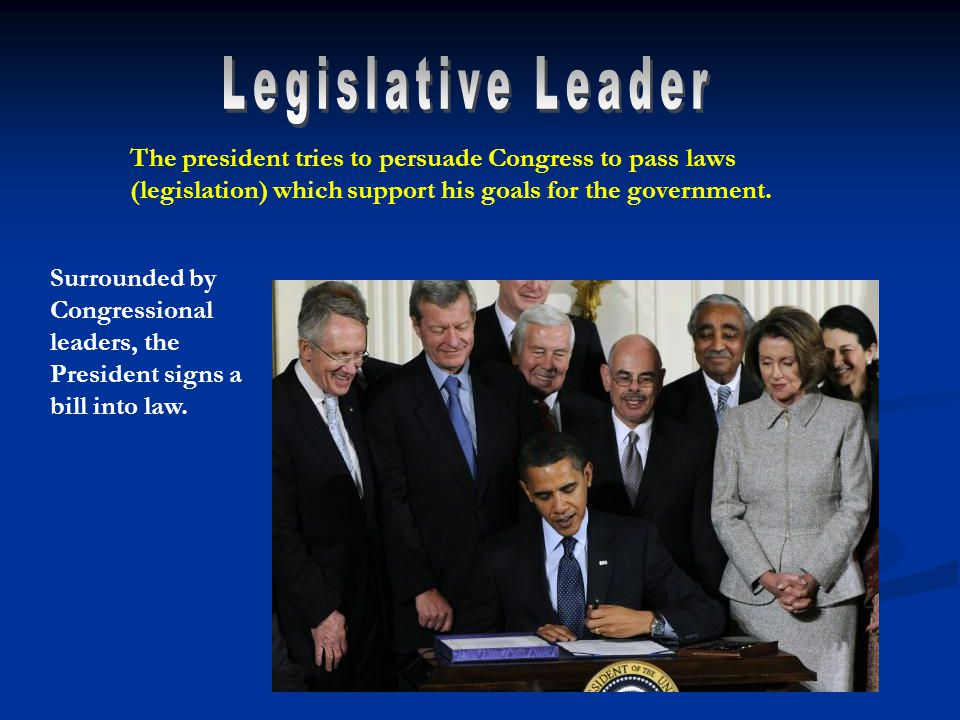 Surrounded by Congressional leaders, the President signs a bill into law.