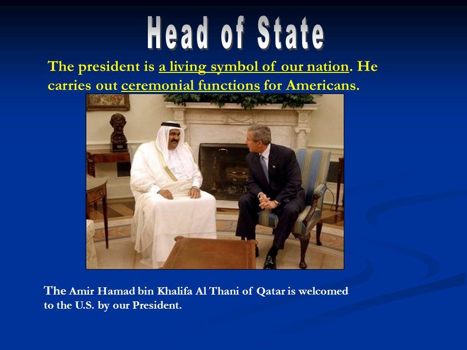 The Amir Hamad bin Khalifa Al Thani of Qatar is welcomed to the U.S.