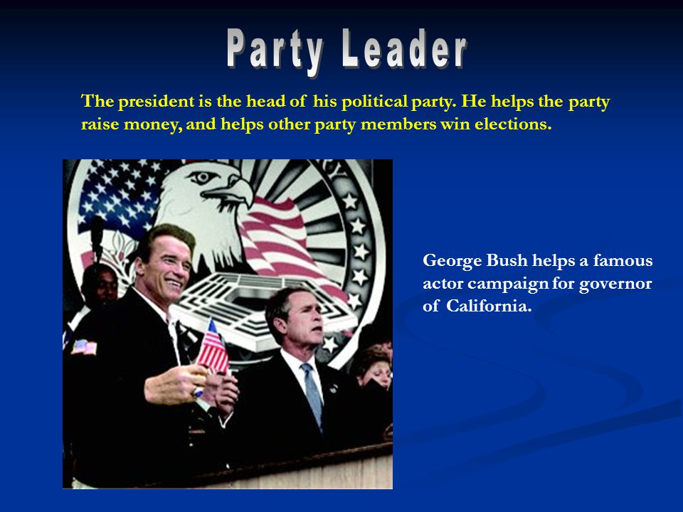 George Bush helps a famous actor campaign for governor of California.