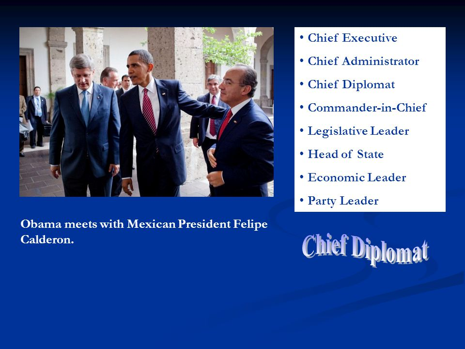 Chief Executive Chief Administrator Chief Diplomat Commander-in-Chief Legislative Leader Head of State Economic Leader Party Leader Obama meets with Mexican President Felipe Calderon.