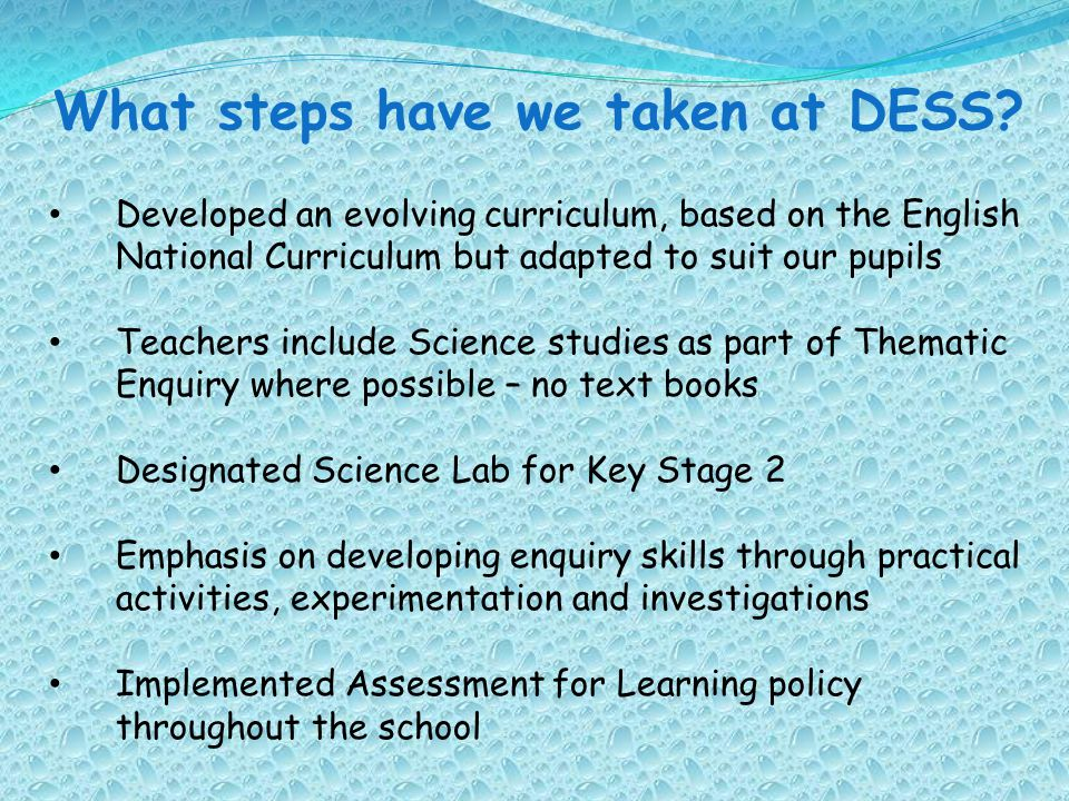 What steps have we taken at DESS? Developed an evolving curriculum, based on the English National Curriculum but adapted to suit our pupils Teachers i