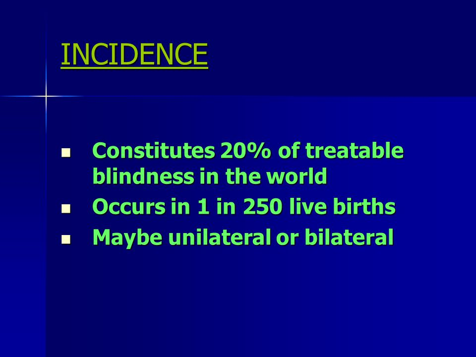 INCIDENCE Constitutes 20% of treatable blindness in the world Constitutes 20% of treatable blindness in the world Occurs in 1 in 250 live births Occur