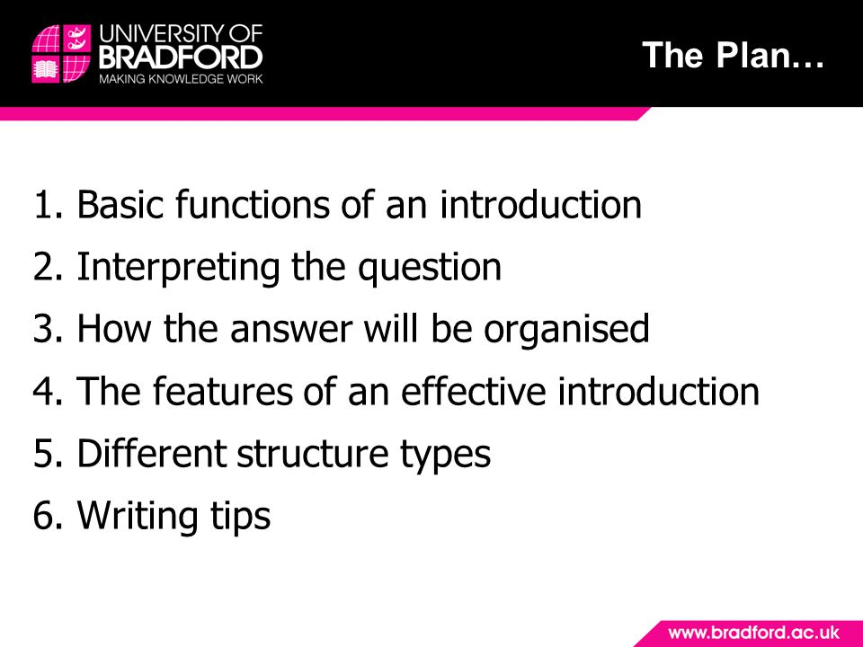 The Plan… 1. Basic functions of an introduction 2.