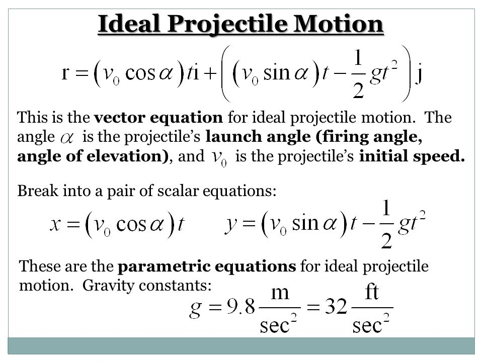Ideal Projectile Motion If the ideal projectile is fired from the point instead of the origin: