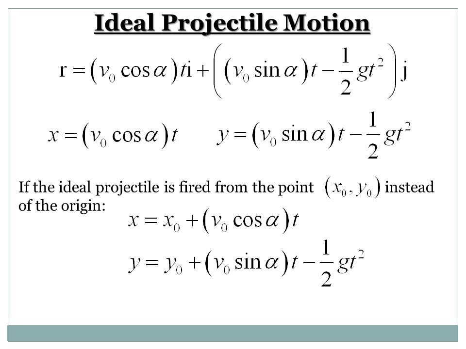 Practice Problem A projectile is fired from the origin over horizontal ground at an initial speed of 500 m/sec and a launch angle of 60 degrees.