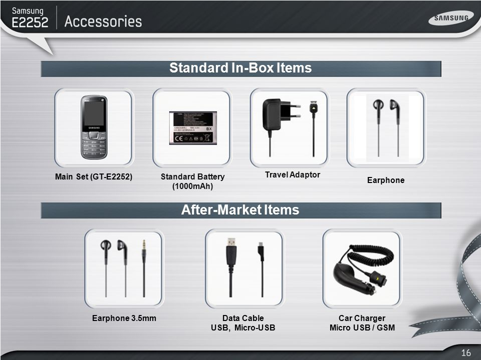 After-Market Items Earphone 3.5mm Main Set (GT-E2252)Standard Battery (1000mAh) Travel Adaptor Standard In-Box Items Car Charger Micro USB / GSM Data
