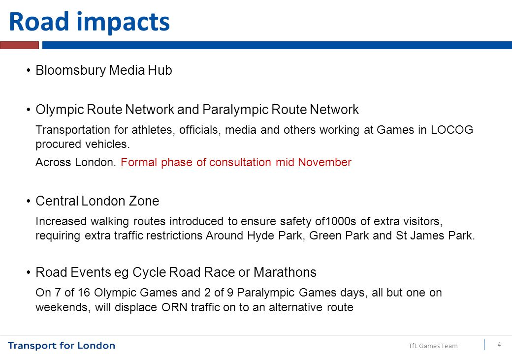 TfL Games Team Other impacts on the road network Olympic and Paralympic Torch relay Central London Zone Live Sites Local Area Traffic Management and Parking Plans National Houses Road Events Test Events 15