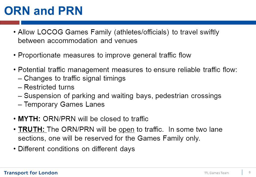 TfL Games Team ORN and PRN – Games lanes 7 ORN – Alternate ORN – Venue-specific route ORN – Core route ORN – Games lanes